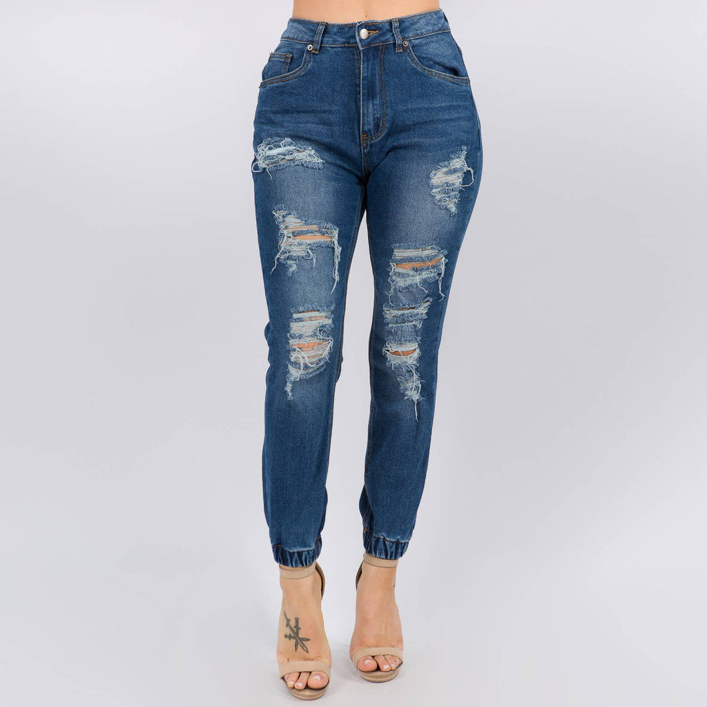High Waist Elastic Cuffed Denim Joggers - LURE Boutique