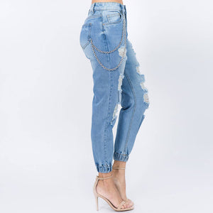 Plus Size High Waist Distressed Denim Joggers - LURE Boutique