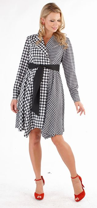 Houndstooth Trench Dress - LURE Boutique