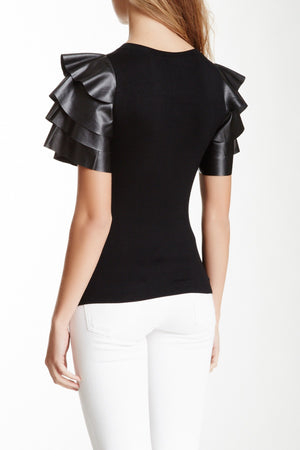 Gracia Faux Leather Sleeve Top - LURE Boutique