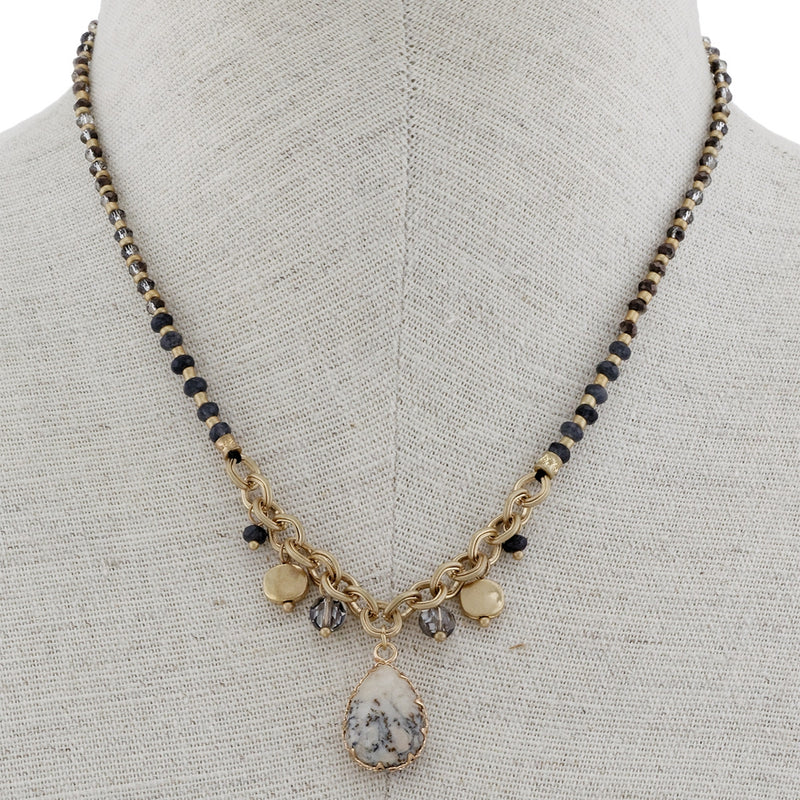 Short Chain Necklace With Charms and Stone Pendant - LURE Boutique