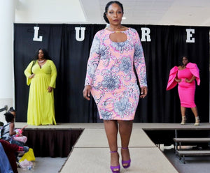 Pink Curvy Print Dress - LURE Boutique