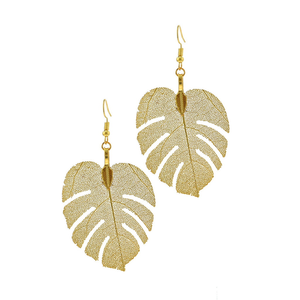 Real Palm Leaf Earring Dipped - Gold & Silver - LURE Boutique