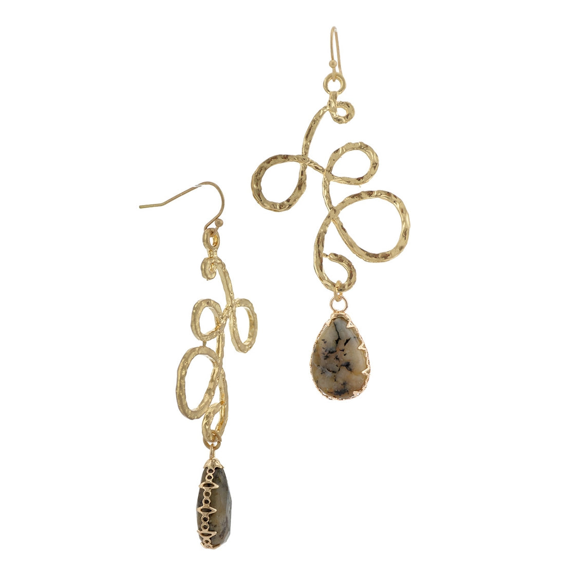 Worn Gold Hammered Loops Stone Drop-Fishhook Earrings - LURE Boutique
