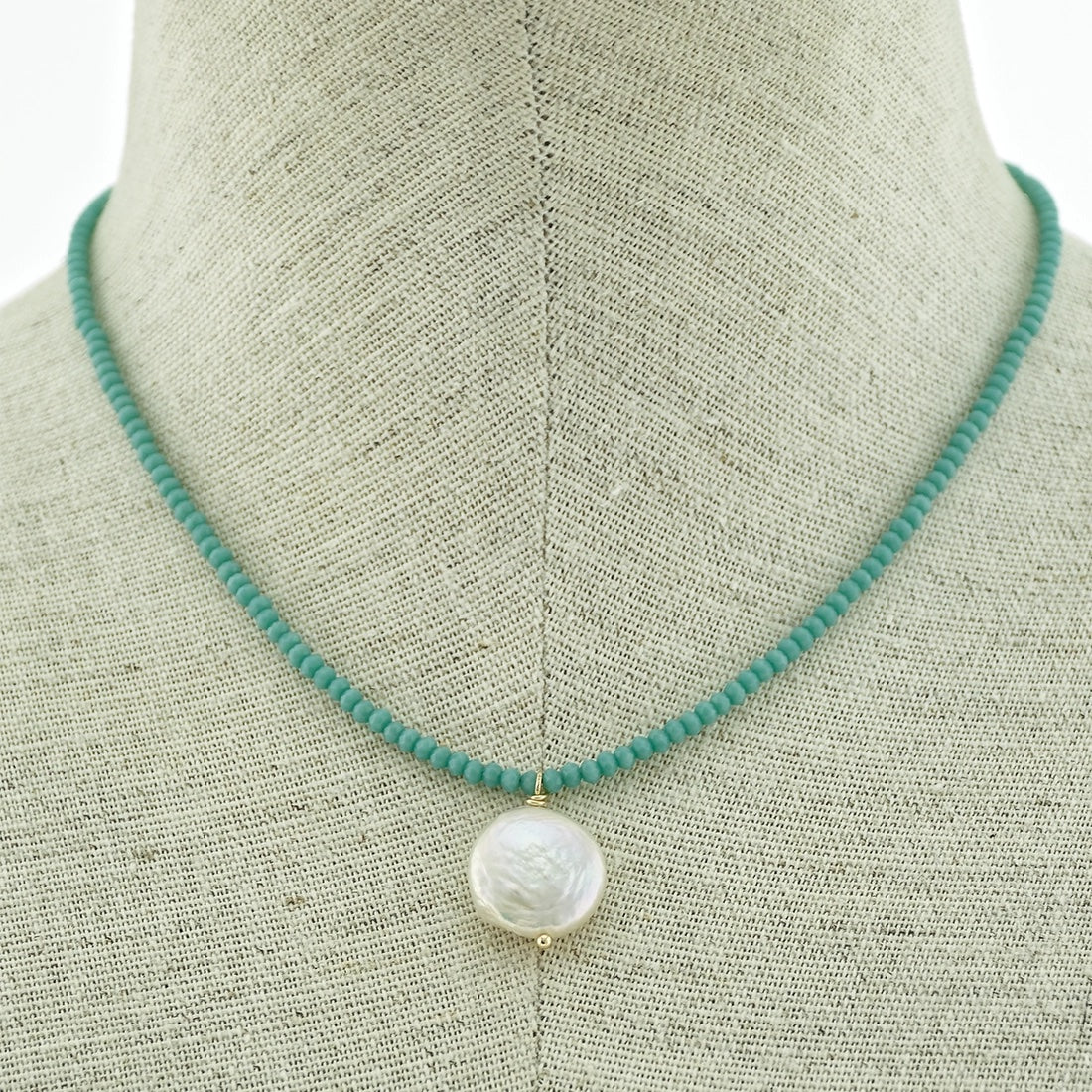 Short Crystal Beaded Necklace With Coin Pearl - Aqua - LURE Boutique