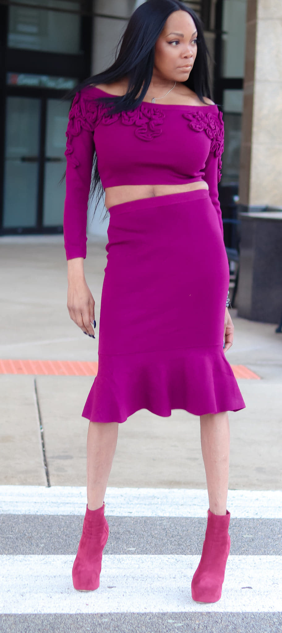 Plum Sweater Crop and Skirt - LURE Boutique