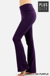 Curvy Premium Cotton Fold Over Yoga Flare Pants - LURE Boutique