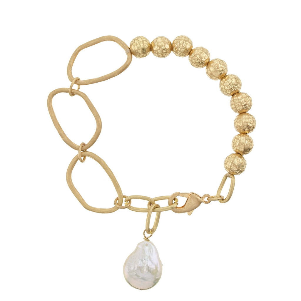 Hammered Worn Gold Stretch Bracelet With Baroque Pearl - LURE Boutique