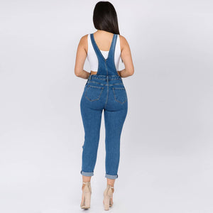 Denim Ripped Overalls - LURE Boutique