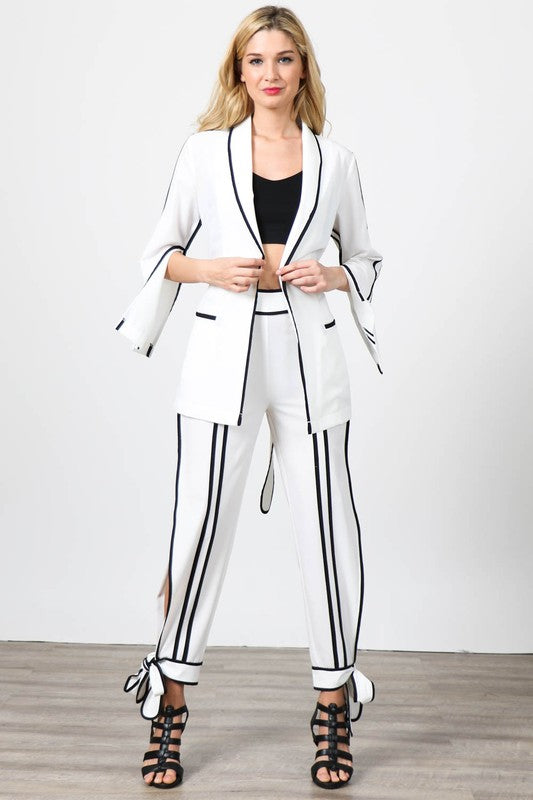 Two Pieces Solid Jacket and Pants Set