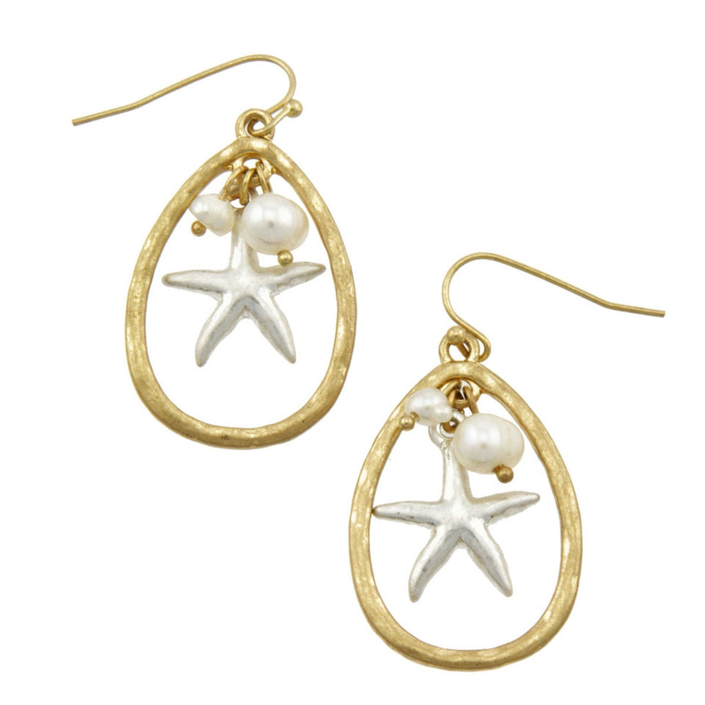 Starfish charm semi precious earring - Ivory - LURE Boutique