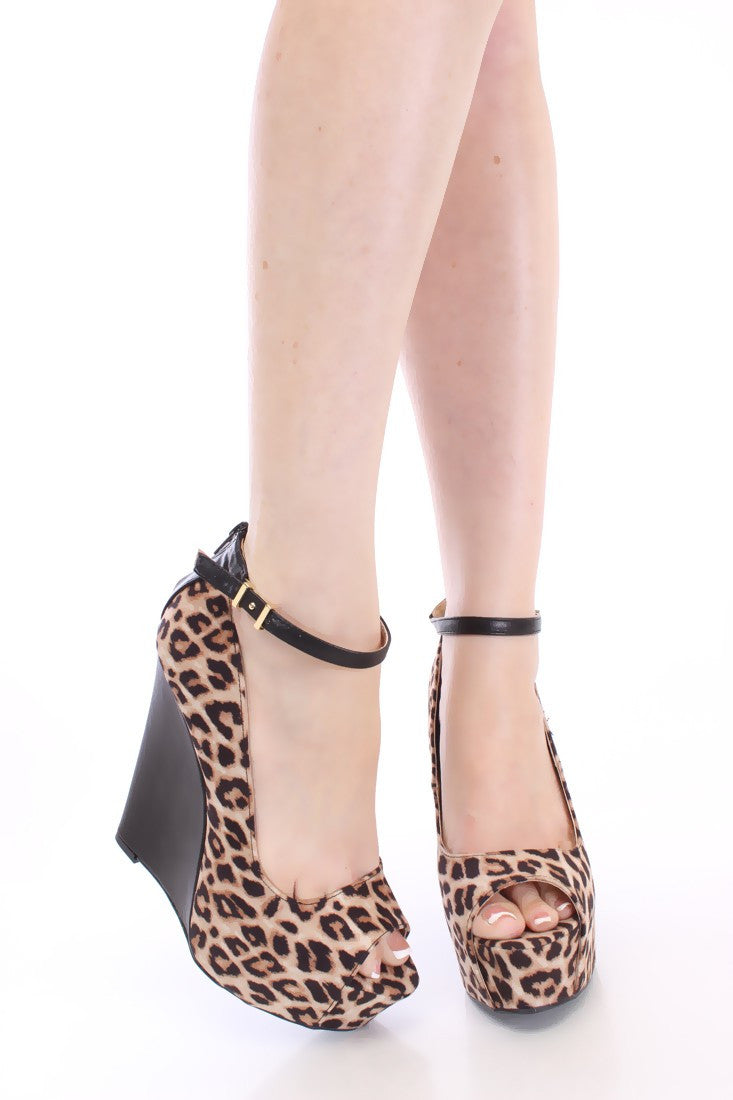 Camel Leopard Peep Toe Wedge - LURE Boutique