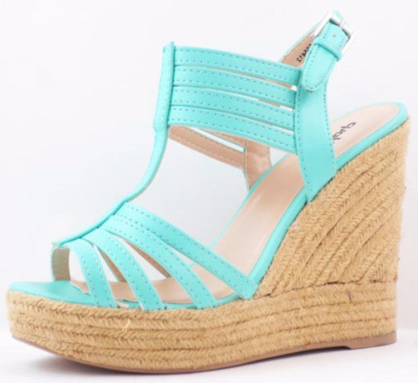 Charlotte Hampton Wedges Mint - LURE Boutique