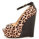 Camel Leopard Peep Toe Wedge - LURE CHAUSSURES SHOETIQUE - 1
