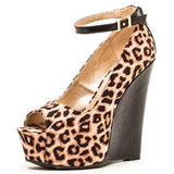 Camel Leopard Peep Toe Wedge - LURE CHAUSSURES SHOETIQUE - 2