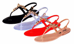 Jewelry Embellished Black Jelly Sandals - LURE