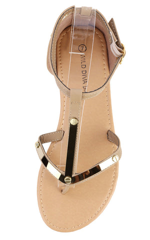 Gladiator Flat Nude Natural Sandals with Gold Plated Detail - LURE Boutique