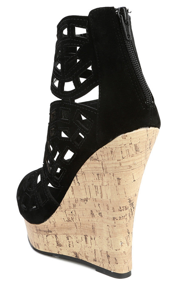 Caged Cut-Out Cork Platform Wedge - LURE