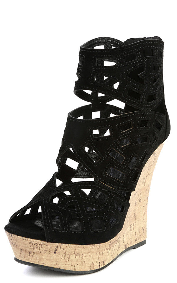 Caged Cut-Out Cork Platform Wedge - LURE Boutique