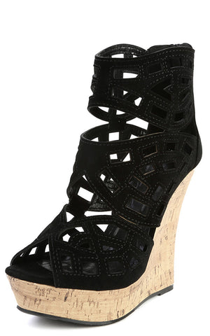 Caged Cut-Out Cork Platform Wedge - LURE CHAUSSURES SHOETIQUE - 1