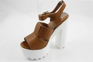 Lug Sole Whiskey Faux Leather Heels - LURE Boutique