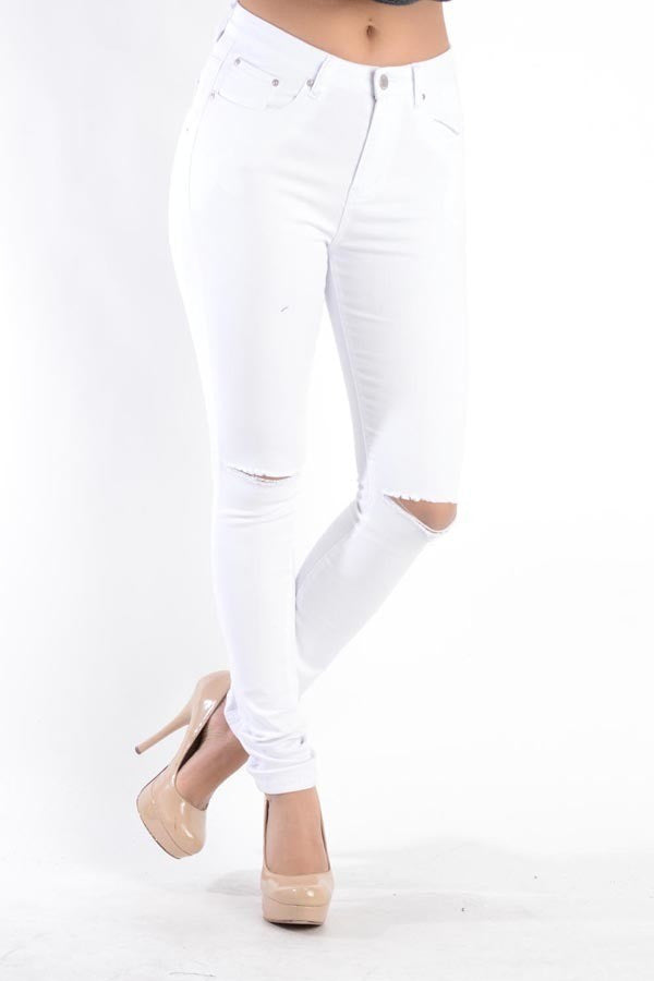 American Bazi Distressed White Jeans - LURE Boutique