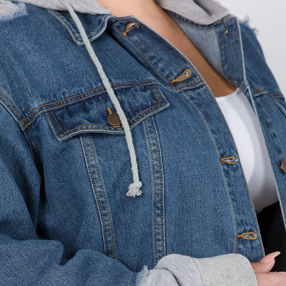 Oversized Denim Jacket w/Hoodie - LURE Boutique