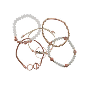 5pc Crystal Pull Tie and Leather Bracelet - White Rose - LURE Boutique