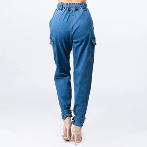 Denim Joggers W/Bow Ties - LURE Boutique
