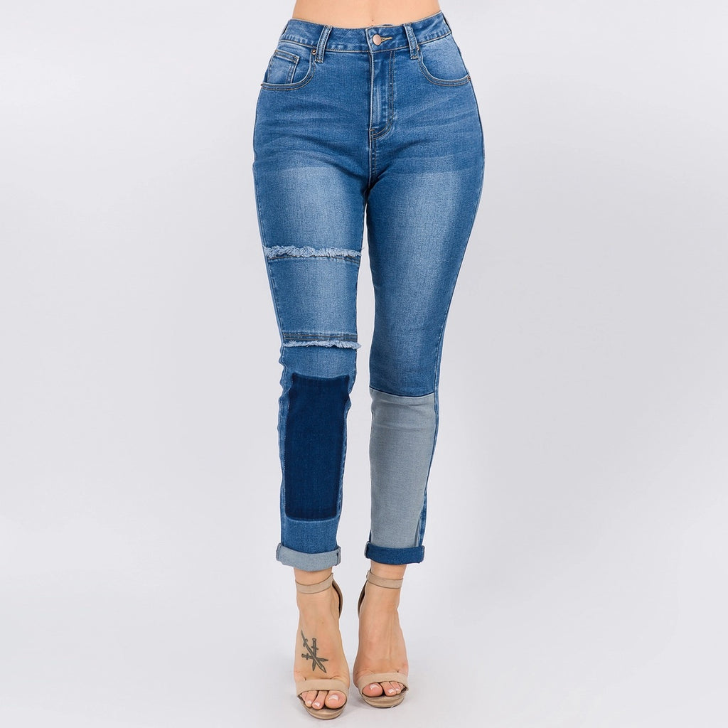High Waist Block Patched Skinny Jeans - LURE Boutique