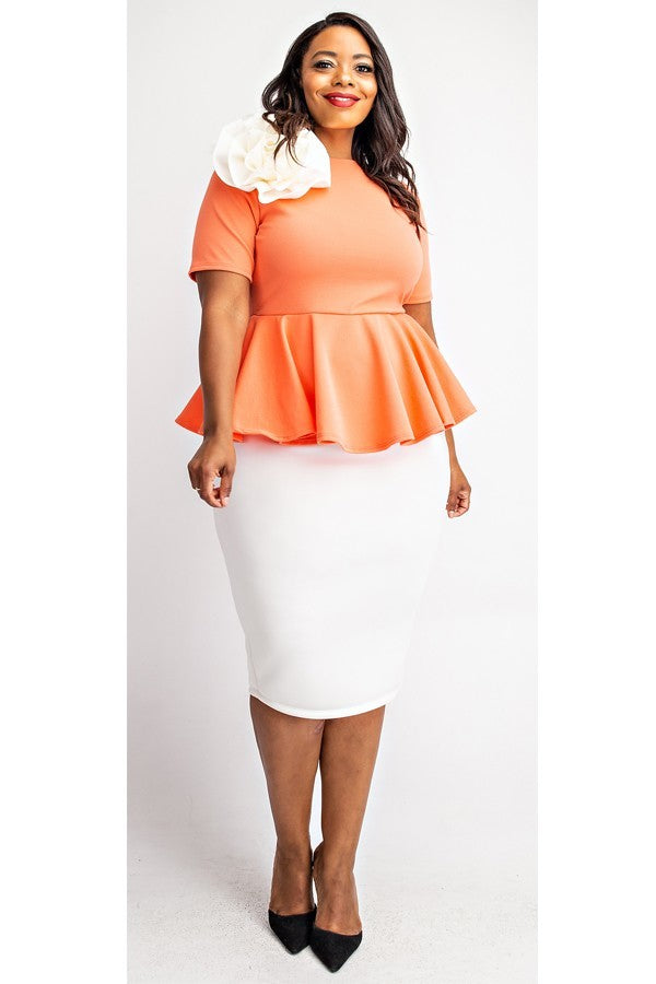 Felicia Coral And White Dress - LURE Boutique
