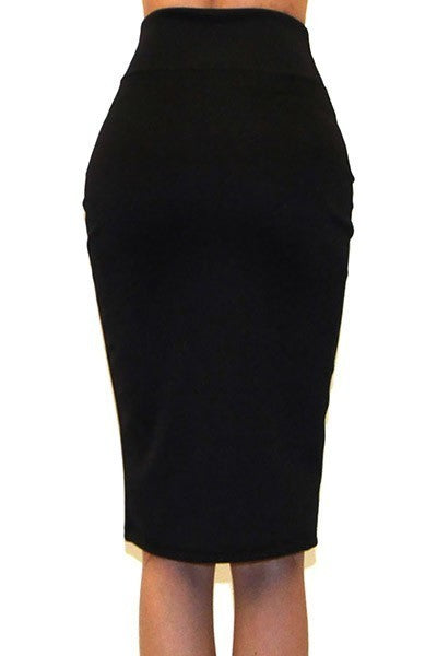Black Knee Length Pencil Skirt - LURE