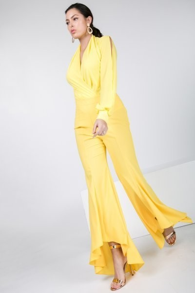 Yellow High Low Pants