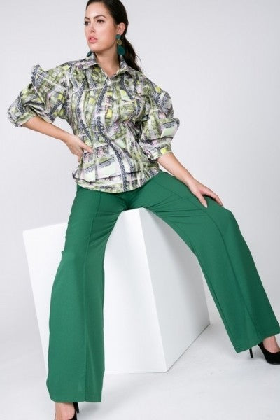 Green Wide Leg Palazzo Pants - LURE Boutique