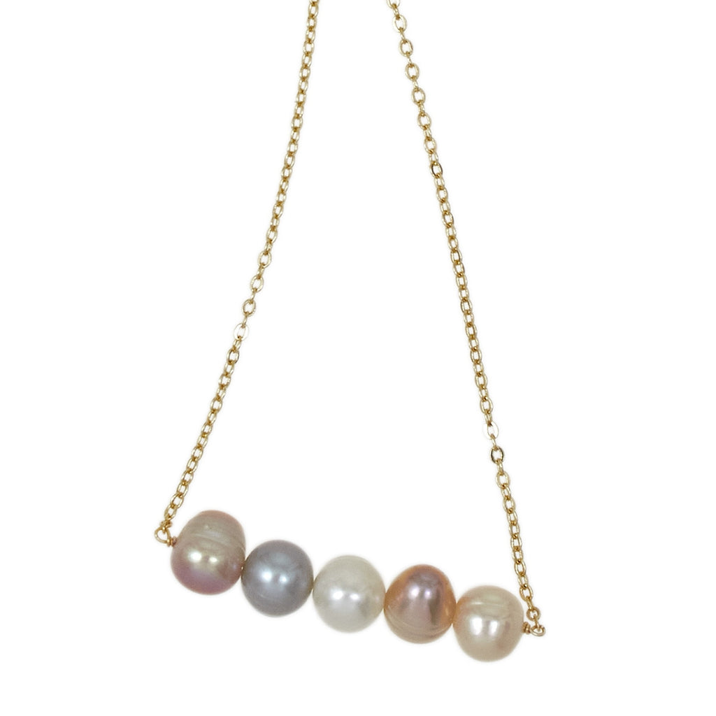 5 Freshwater Pearls on Gold Chain Necklace - Multi Color - LURE Boutique