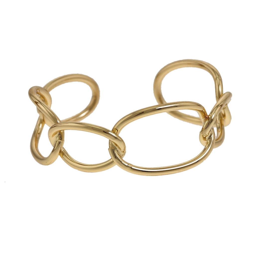 Polished Link Cuff Bracelet - Gold - LURE Boutique