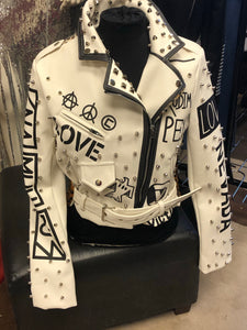 Winter White Motorcycle Jacket - LURE Boutique