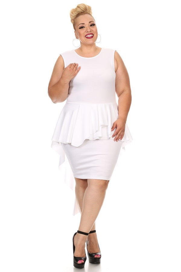 white Plus size sleeveless peplum dress