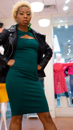 Hunter Green Bodycon Midi Dress - LURE Boutique