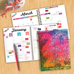 Sparkle Sequin Year Medium Weekly/Monthly Planner + Stickers