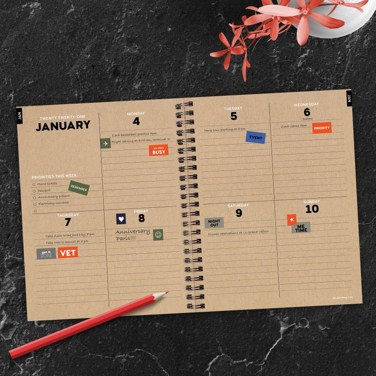 Chasing Pavement Medium Weekly/Monthly Planner + Stickers - LURE Boutique