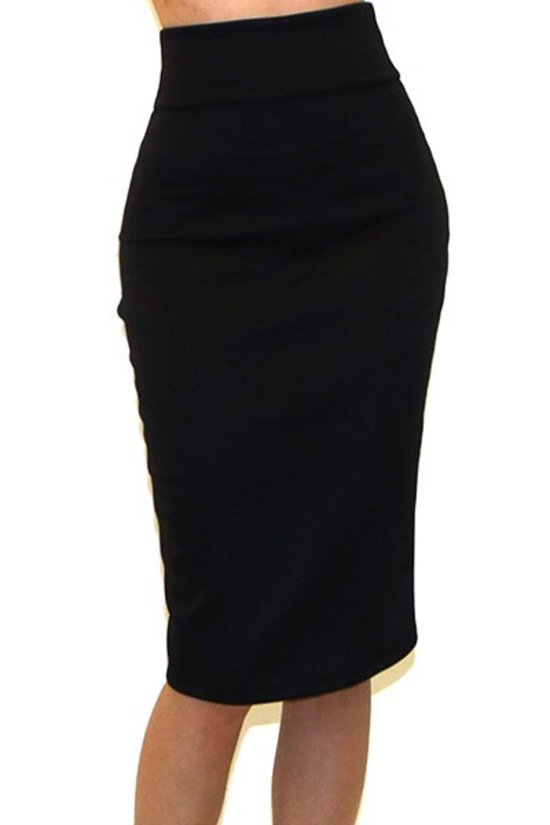 Black Knee Length Pencil Skirt - LURE Boutique