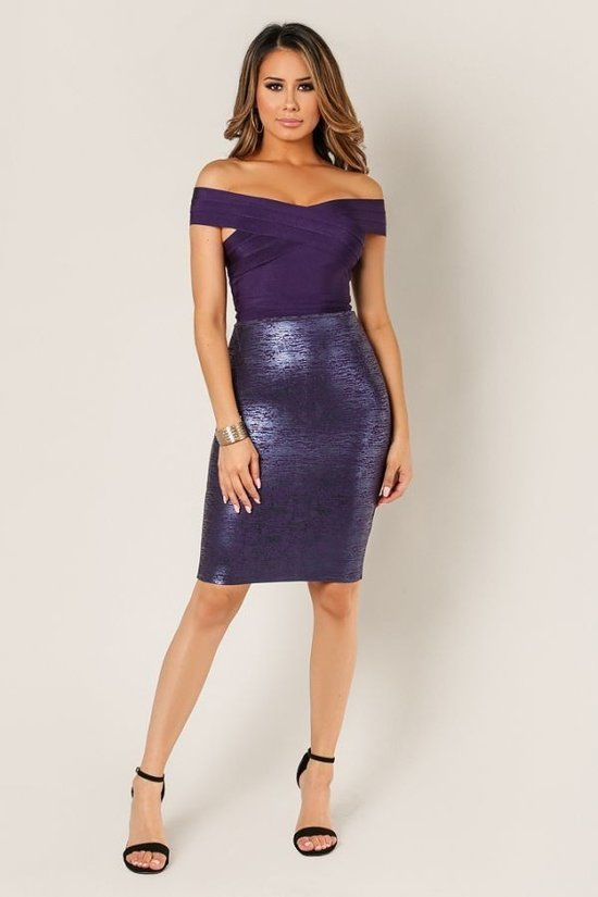 Metallic Colored Pencil Skirt - LURE Boutique