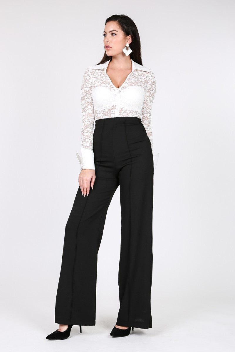 Real Estate Black Wide Leg Palazzo Pants - LURE Boutique