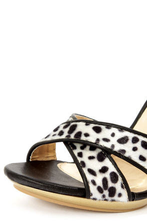 Black Dalmatian Print Color Block High Heels - LURE CHAUSSURES SHOETIQUE - 6