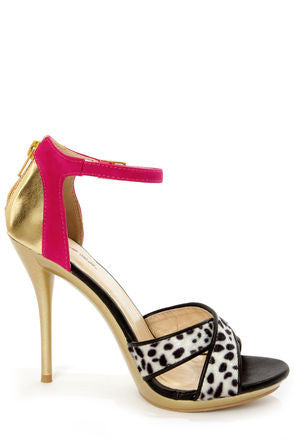 Black Dalmatian Print Color Block High Heels - LURE CHAUSSURES SHOETIQUE - 4