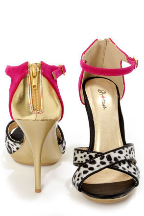 Black Dalmatian Print Color Block High Heels - LURE CHAUSSURES SHOETIQUE - 2