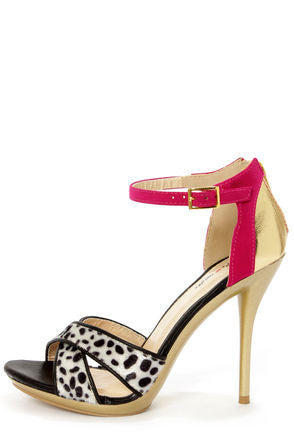 Black Dalmatian Print Color Block High Heels - LURE Boutique