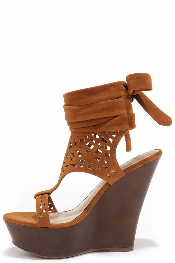 Contessa Wrap Suede Chestnut Heel - LURE Boutique
