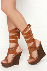 Contessa Wrap Suede Chestnut Heel - LURE CHAUSSURES SHOETIQUE - 3